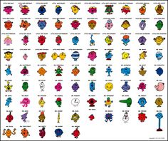 All the Mr Men and Little Miss characters :) http://www.mrmen.com/