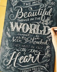Beautiful hand lettering with chalk. Very creative. Chalkboard Typography, Blackboard Art, Chalk Lettering, Chalkboard Designs, Types Of Lettering, Typography Quotes, Typography Inspiration, Brush Lettering, Lettering Design