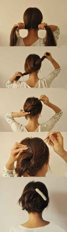 A 20-second updo — split, knot, twist, and pin. | 26 Lazy Girl Hairstyling Hacks Lazy Girl Hairstyles, Up Hairstyles, Pretty Hairstyles, Hairstyle Hacks, Hairdos, Hairband Hairstyle, Fine Hair Updo, Stylish Hairstyles, Messy Ponytail