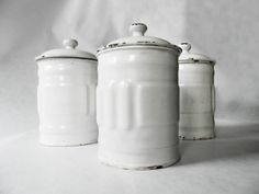 1930's French Kitchen white CANISTERS SET by PetitesChosesDeLaVie