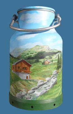 bidon de lait peint - Recherche Google Painting Canning Jars, Bottle Painting, Bottle Art, Antique Milk Can, Vintage Milk Can, Milk Pail, Milk Jug, Milk Can Decor, Painted Milk Cans