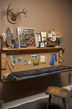 Ideas For Creating Upcycled Tables, Desks and Workstations: This former truck tailgate has been refurbished into a desk for a youngster's adventurous room. A rustic office chair ties the space together. From DIYnetwork.com  ???? Boys room???