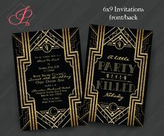 Great Gatsby Monogram Invitations or for Your Special Event (Shown in Black/Yellow Gold) on Etsy, $2.50