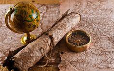 Компас старинная карта обои