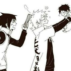 Sasuke scolding Naruto for playing with his and Hinatas son instead of doing his work