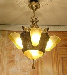 eBay item: Stunning Antique Classic Lavish Art-Deco Slip Glass Shade Chandelier Light AS-IS