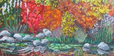 """""""Botanical Gardens""""  Acrylic on Masonite #PollyJackson is an #artist from #Albuquerque, New Mexico, USA, whose #paintings I admire.  Would you love to own one of her paintings that I have pinned? Contact her at: Email: artistpolly@gmail.com       Website: http://www.pollyjackson.com   https://www.facebook.com/artistpolly    #NewMexico #BotanicalGardens #Flowers #Acrylic #Painting"""