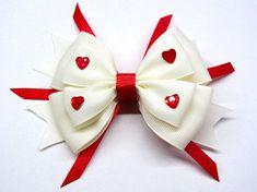 White girls bow White hair Clip bow Valentines baby girl bow Girls valentine bow Hair bow for girls