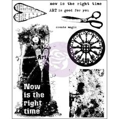 Prima Marketing-Finnabair Cling Rubber Stamps. Create unique images quickly for your paper crafts! Apply to any acrylic block and stamp. This package contains sixteen cling rubber stamps on one 7-1/2x5-7/8 inch backing sheet. Design: Now Is The Right Time. Price € 9,99