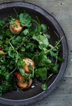GRILLED SCALLOPS & CAPERS over MIXED GREEN & HERB SALAD [foodandwine]