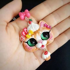 Sweet Kawaii Strawberry Cupcake Kitty Cat OOAK Handmade Polymer Clay Pendant by FleurDeLapin