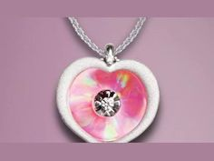 """14K White Gold Opal Heart 