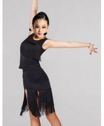 Black colored women's ladies female tassels layers exercises competition latin dance dresses split set samba salsa cha cha dance dresses