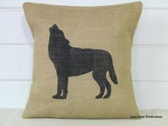 Wolf Pillow- Burlap Pillow, Woodland Nursery Decor, Lodge Decor, Cabin Decor, Wolf Silhouette, Animal Pillows,