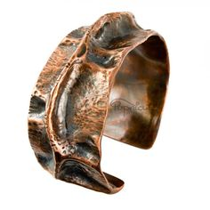 Adjustable Thick Copper Fold Formed Cuff Bracelet Moon Crater Handmade | popnicute - Jewelry on ArtFire