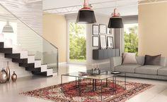 Trendy kolorystyczne w aranżacji wnętrz Room Colors, Stairs, Loft, Ceiling Lights, Living Room, Trendy, Lighting, Design, Home Decor