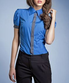 Take a look at this NIFE: Blue Short-Sleeve Shirt with Grey Trim by NIFE on #zulily today!