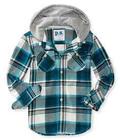 Kids' Long Sleeve Hooded Woven Shirt