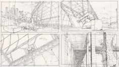 Mitsuo Iso's layout drawings for Ghost in the Shell directed by Mamoru Oshii