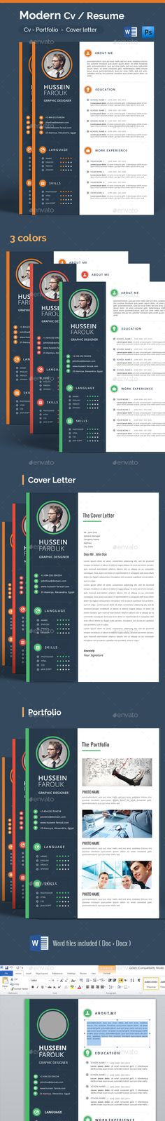 Modern Cv / Resume — Photoshop PSD #editable #cover letter • Available here → https://graphicriver.net/item/modern-cv-resume/14036497?ref=pxcr