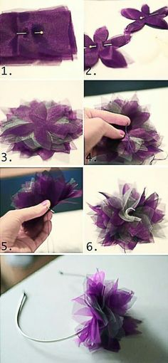 DIY Hair Accessory diy crafts craft ideas easy crafts diy ideas crafty easy diy jewelry diy diy accessories diy hair accessory craft hair accesory by Allison Chang Diy Headband, Floral Headbands, Baby Headbands, Headband Tutorial, Baby Bows, Sewing Headbands, Floral Crowns, Handmade Flowers, Diy Flowers