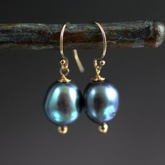 Blue Pearl Earrings Gold Fill Pearl by JillMcCrystalJewelry