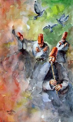 Whirling Dervishes And Pigeons Painting by Faruk Koksal - Whirling Dervishes And Pigeons Fine Art Prints and Posters for Sale