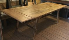 Reclaimed oak barn wood table with extensions.