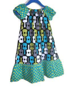 Girls Peasant Dress Guitars Polka Dots by SouthernSeamsKids, $28.00