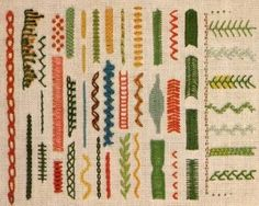 Lines & Borders embroidery This looks like the cover of my favorite embroidery book by Jacqueline Enthoven (SP? Border Embroidery, Embroidery Sampler, Embroidery Patches, Hand Embroidery Patterns, Cross Stitch Embroidery, Embroidery Designs, Smocking Patterns, Stitch Book, Sewing Art