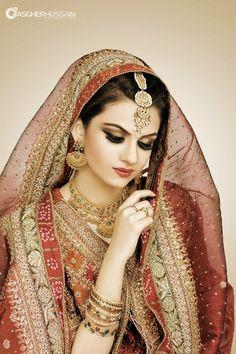 Beautiful Indian Brides color veil look Pakistani Wedding Outfits, Pakistani Bridal, Bridal Outfits, Bridal Dresses, Beautiful Indian Brides, Beautiful Bride, Beautiful Women, Indian Bridal Makeup, Bridal Beauty