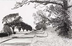 charcoal drawing landscape Hockney: Kilham to Rudston. The charcoal drawings in A Bigger Picture are stunning. David Hockney Landscapes, David Hockney Art, David Hockney Paintings, Landscape Drawings, Landscape Art, Landscape Paintings, Art Postal, Guache, Gravure