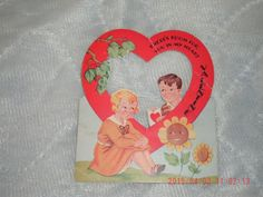 1939 Valentine, moving part, some wear and creases, used by VintageNEJunk on Etsy