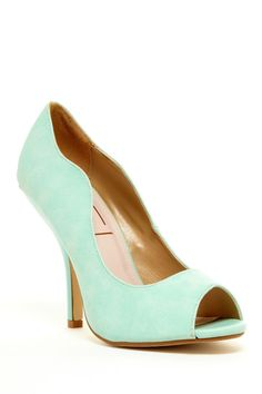Peep-toe mint high heels for wedding shoes