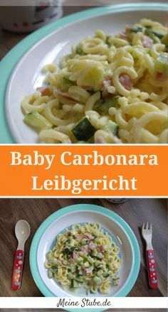 Children& carbonara with pasta, delicious recipe for baby and .- Kinder Carbonara mit Nudeln, leckeres Rezept für Baby und Kleinkind – MeineStube Instead of ham with smoked tofu or simply without everything - Baby Food Recipes, Dinner Recipes, Rabbit Recipes, Lunch Recipes, Dinner Ideas, Ham Pasta, Snacks Sains, Vegetarian Recipes, Healthy Recipes