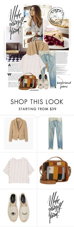 """""""Curiouser"""" by color-me-red ❤ liked on Polyvore featuring Balmain, MANGO, rag & bone, See by Chloé, Soludos and boyfriendjeans"""