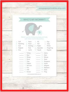 baby shower game printable elephant purple lavender grey matching game whos my mommy baby girl shower digital games - IN Baby Shower Favors, Baby Shower Games, Baby Shower Parties, Baby Shower Decorations, Baby Shower Invitations, Elephant Decorations, Bridal Shower, Simple Baby Shower, Gender Neutral Baby Shower