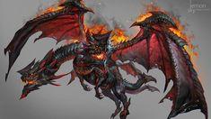 Two head fire dragon , jeremy chong on ArtStation at https://www.artstation.com/artwork/vErOa