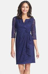 Adrianna Papell Rosette Side Lace Dress