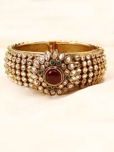 White Kundan Stone Bangle-Buy White Kundan Stone Bangle Online