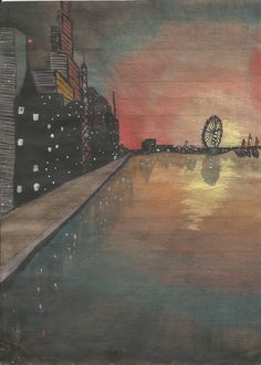 The Inspired Life of Big Chick & Little Chick: Downtown Waterfront watercolor city sunset