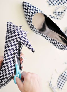 Tutorial for covering shoes in fabric. http://www.lovemaegan.com/2011/11/houndstooth-shoes-diy.html