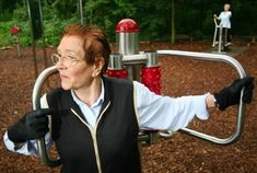 "Senior at Berlin's Pruessen Park, nicknamed the ""Playground for Grown-Ups."" The park is designed for people over 5 feet tall and caters to Germany's fastest growing population: seniors."