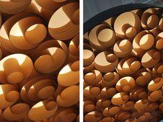 break-up screen using wood veneer or paper; organic shapes