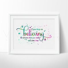 'If You Keep on Believing', Cinderella Quote Art Print - VIVIDEDITIONS