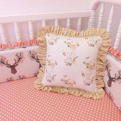"""@littlecharliemay - """"Fawn accent pillow. #littlecharliemay #pillows #ruffles #girlbedding #cribbedding #girlbeddingset #babybedding #hawthornethreads #fawn #goingstag…"""""""