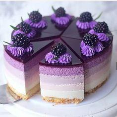 5 beautiful cake inspiration idea for wedding cake, birthday and kids Purple cake, purple dessert, blackberry topping cake,. Mini Desserts, Purple Desserts, Purple Cakes, Strawberry Desserts, Chocolate Desserts, Delicious Desserts, Chocolate Cake, Baking Desserts, Chocolate Lovers