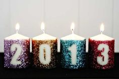crafty candle decoration that's easy, inexpensive and glam. Get the full tutorial for our DIY glitter NYE candle decoration