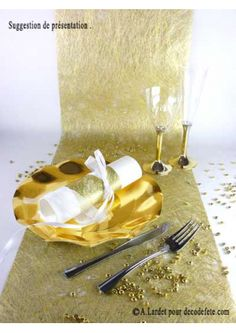 10M Chemin de table brillant or - chemins de table dorés