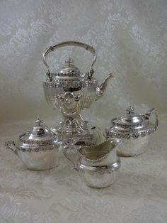 ENGLISH KING BY TIFFANY & CO. STERLING SILVER TEA SET KETTLE SUGAR CREAMER 4PC  #TiffanyCo